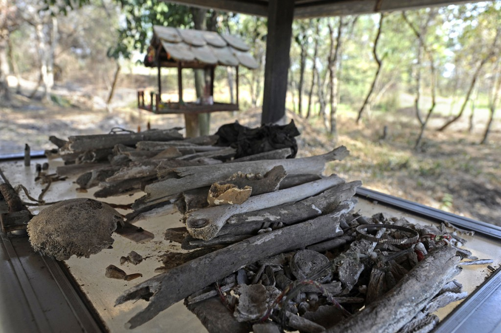Victims bone fragments collected after being exposed by each passing of the monsoonal rains.