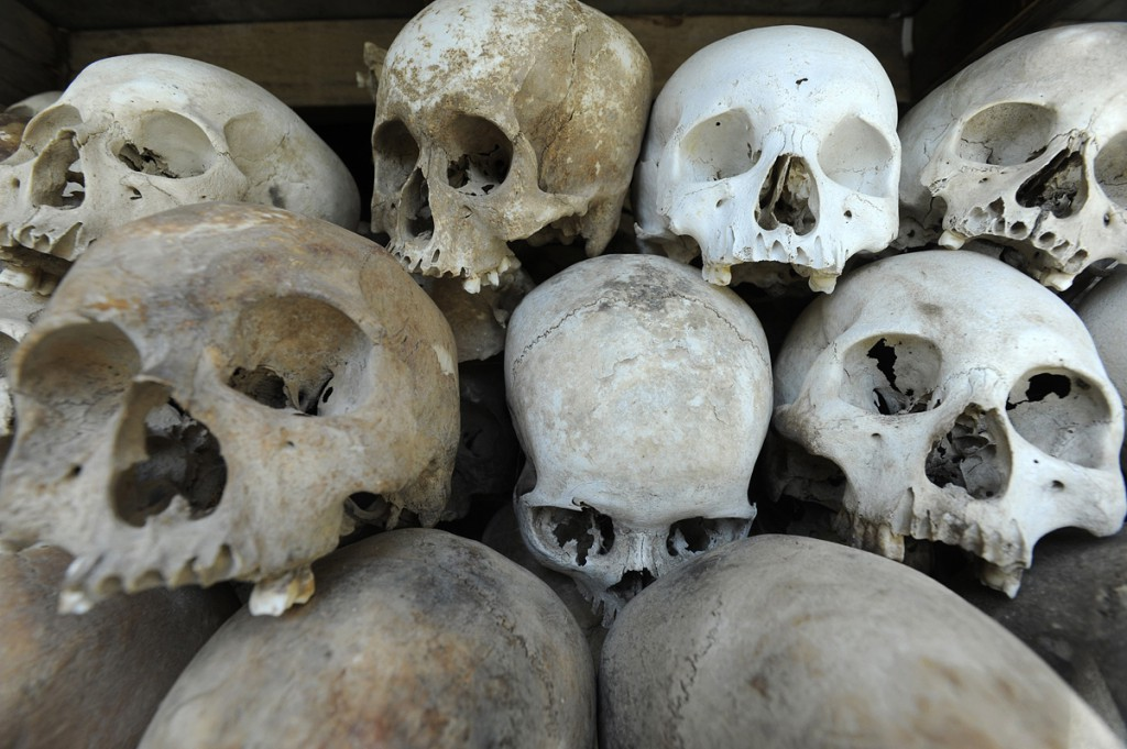 The recovered skulls displayed in the memorial. Face to face with so many of the dead, is sometimes too much for some to bear.