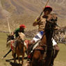 Fast and furious action at the Polo final in the Shandur Pass, Chitral, Pakistan.