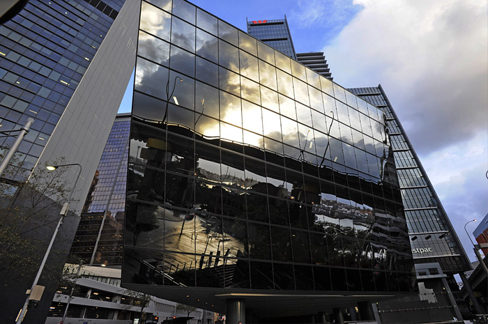 stock photo glass reflective glass reflection architecture sydney cbd sydney australia - Glass Reflection
